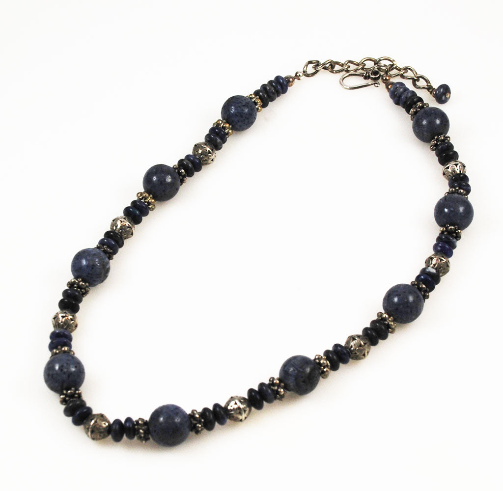 Blue Coral, Lapis and Sterling Necklace