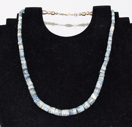 Blue Denim Heishi Coral Necklace Vintage