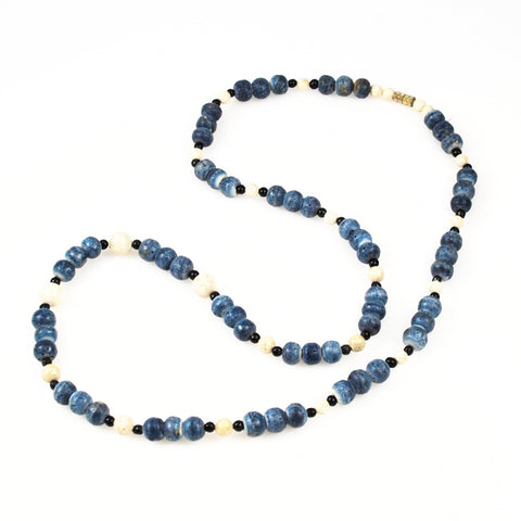 Blue Denim Coral Necklace Vintage