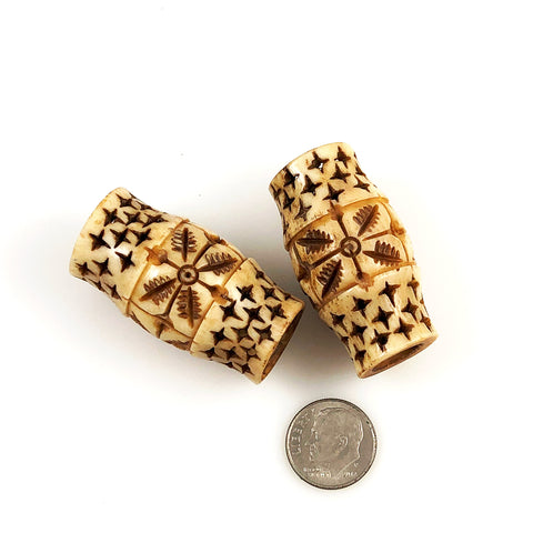 Large Bone Carved Barrel Beads