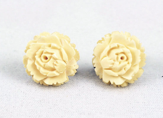 Victorian Carved Bone Floral Screw Back Earrings