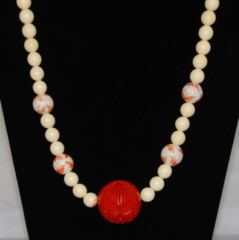 Bone & Cinnabar Chinese Necklace Vintage