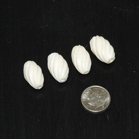 Carved Bone Oval Twist Beads 12 x 18mm