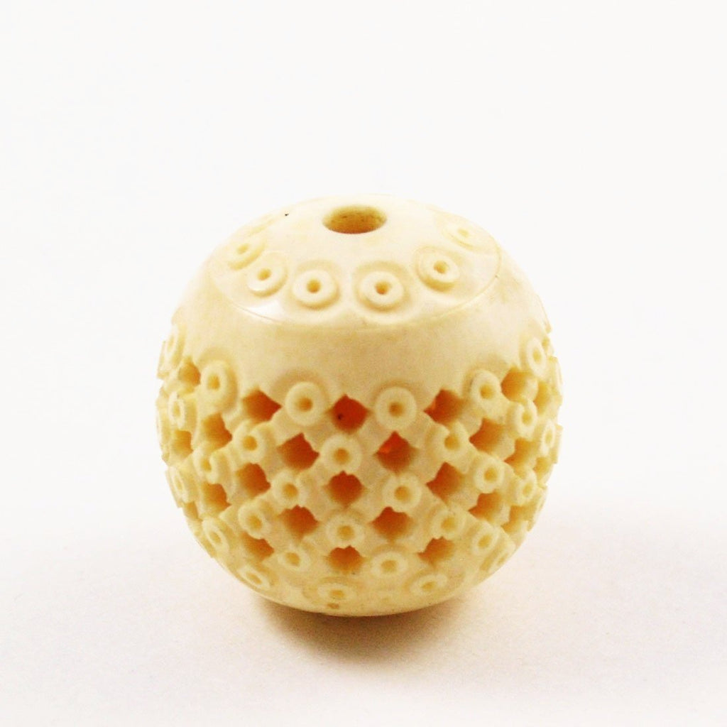 Chinese Carved Bone Eye Bead 30mm Vintage