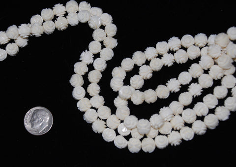 Carved Ox Bone Rose Beads 8mm