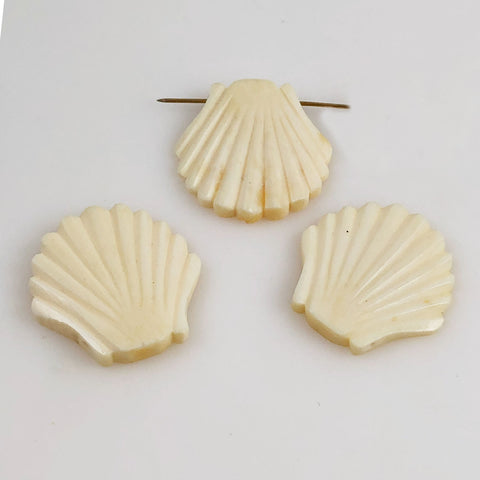 Carved bone shell beads