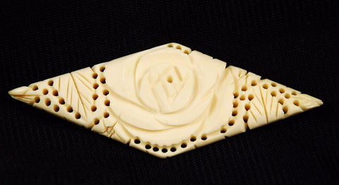 Victorian Pierced Bone Rose Brooch Vintage