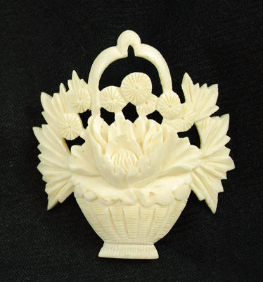 Carved Bone Basket of Flowers Bouquet Pendant