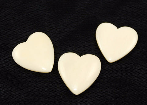 Hand Carved Ox Bone Heart Pendants