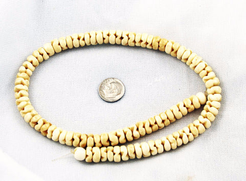 Carved Bone Rondelle Bead Strand - Natural
