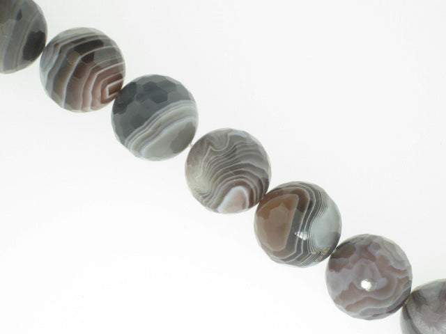 Botswana Agate Faceted Round Beads