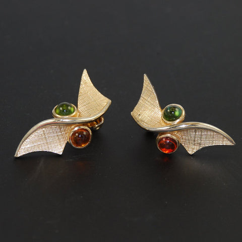 Boucher Peridot & Amber Clip On Earrings