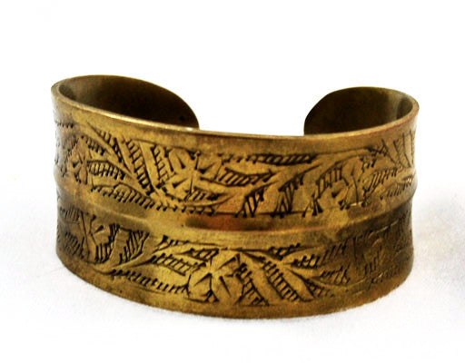 Embossed Brass Cuff Bracelet with Foliate Design