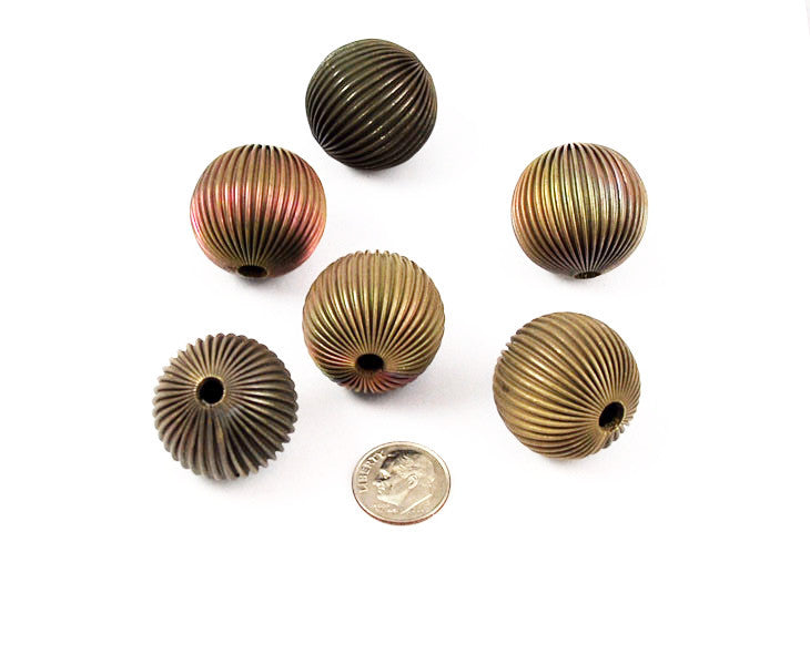 Large Fluted Brass Beads 26mm Vintage
