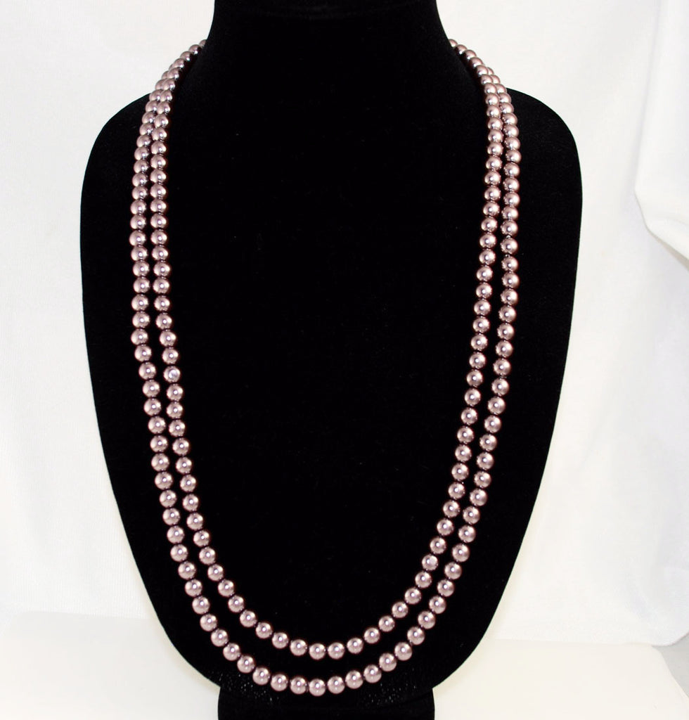 Bronze Pearl Necklace 8mm Flapper Style