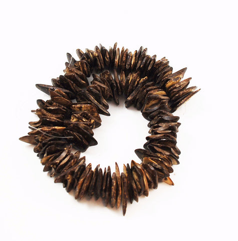 Natural Brown Coco Chip Bead Strands 18-22mm