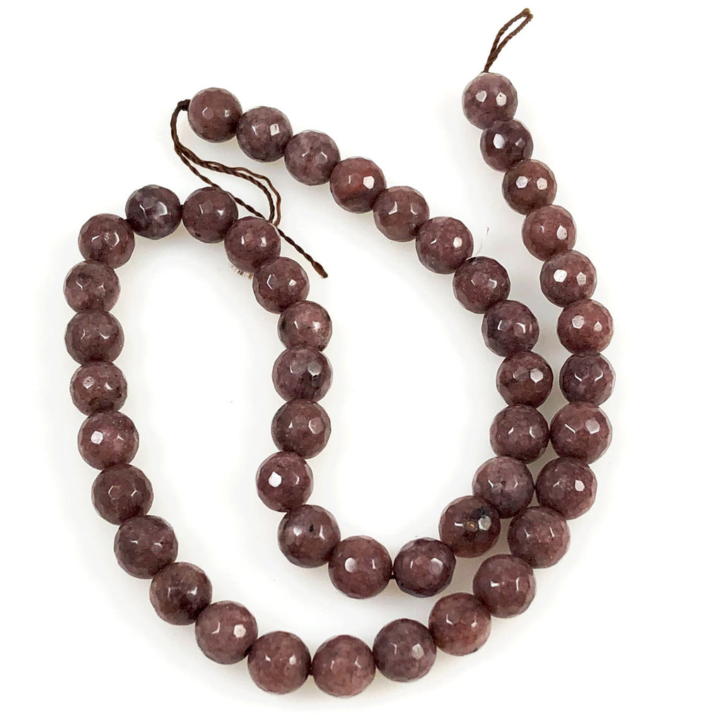 Brown Jade 8mm Faceted Round Beads