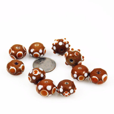 Brown Polka Dot Lamp Work Beads - 6 beads