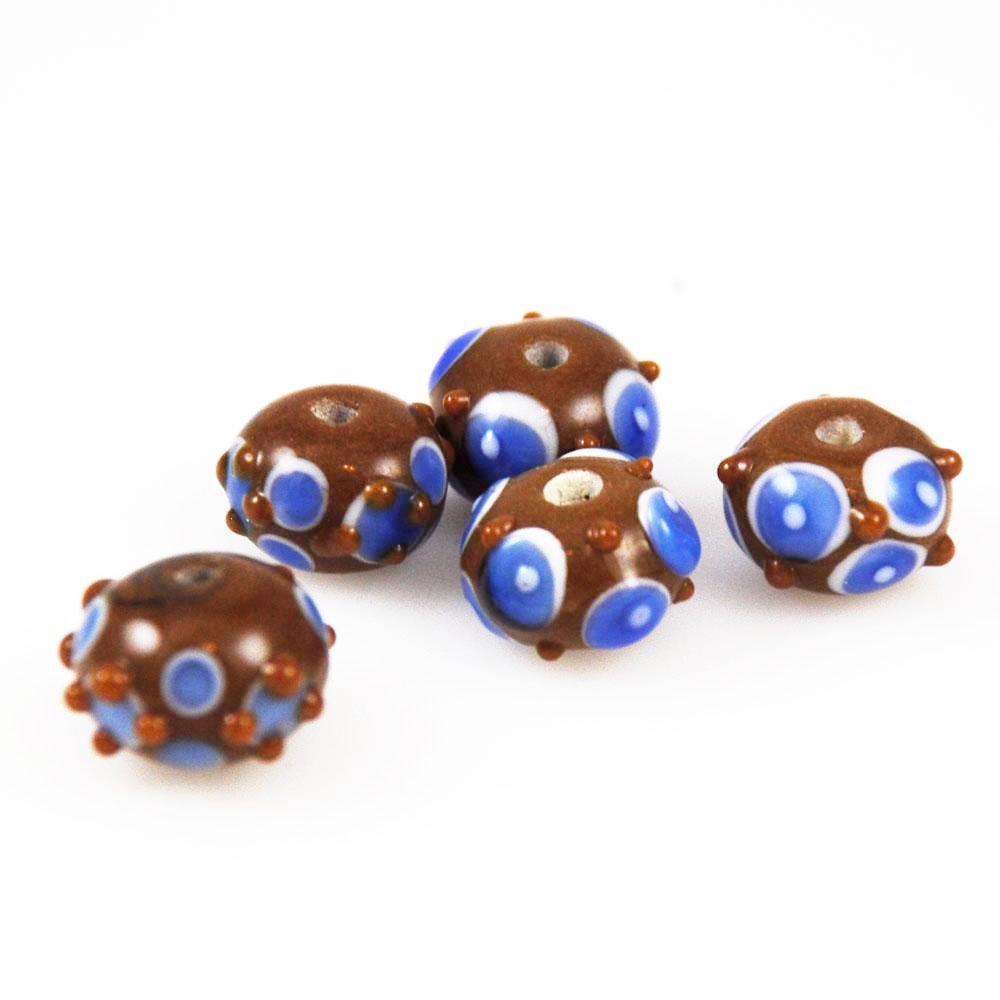 Brown & Blue Polka Dot Lamp Work Beads