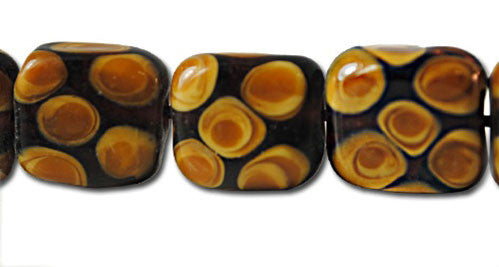 Brown Spotted Lamp Work Square Beads