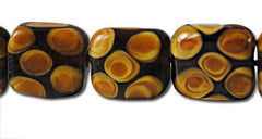 Brown Spotted Lamp Work Square Beads - 6 beads 24mm