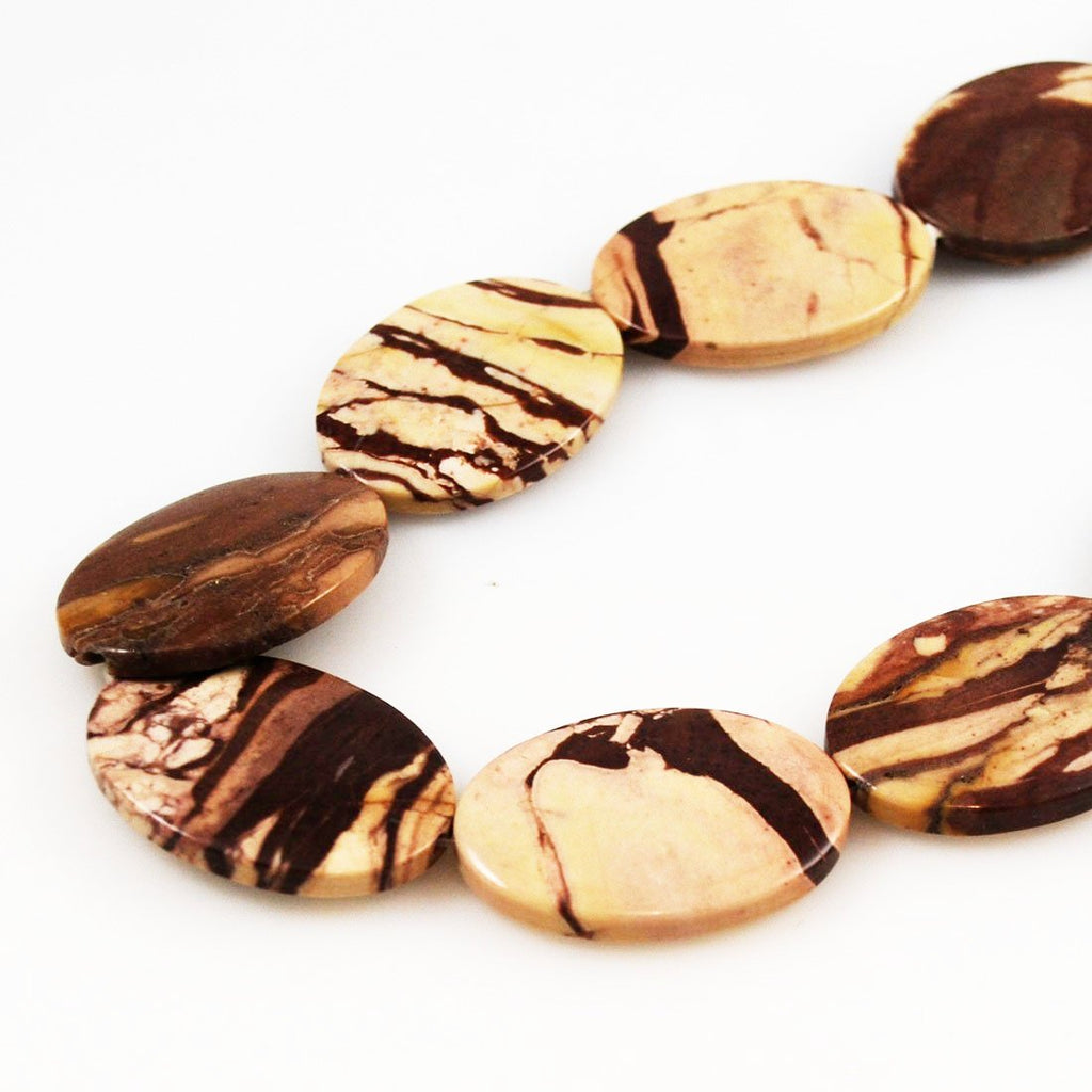 Brown Zebra Jasper Beads Large Ovals