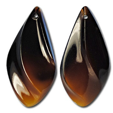 Brown West German Teardrop Glass Pendants