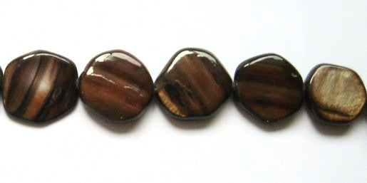 Brown Mother of Pearl Flat Rounds Bead Strands 20mm