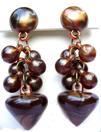 Brown Lucite Moonglow Dangle Earrings