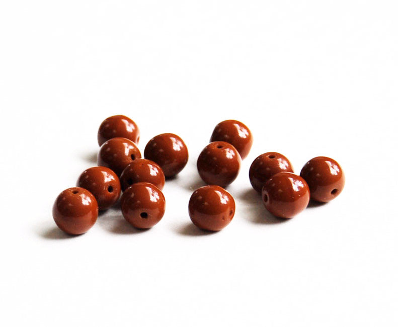 Japanese Brown Round Glass Beads