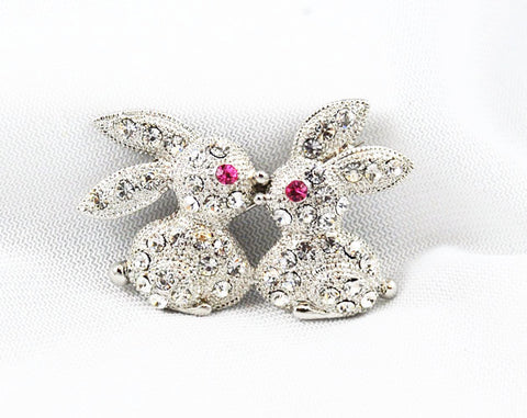 Adorable Rhinestone Kissing Bunnies Brooch Vintage