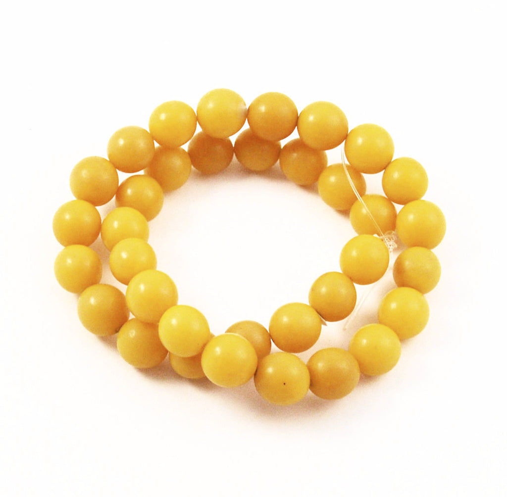 Yellow Buri 10mm Round Bead Strands