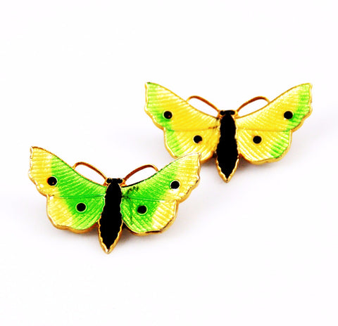 Pair of Enamel Guilloché Butterfly Pins