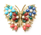 Art Colorful Stone & Pearl Butterfly Brooch