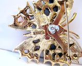 Art Butterfly Brooch Colorful Stones Vintage