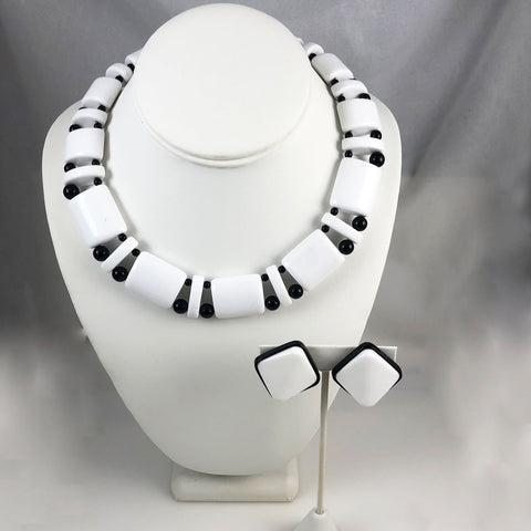 Monet black white Lucite necklace