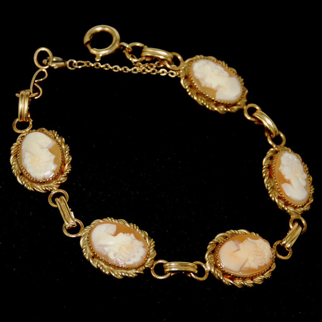 Cameo Bracelet Vintage Gold Filled