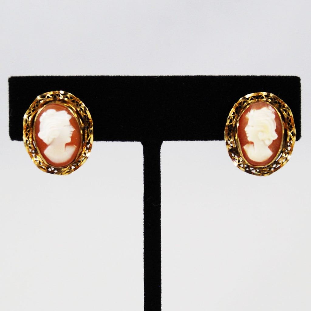 Vintage Cameo Gold Filled Earrings Clip On