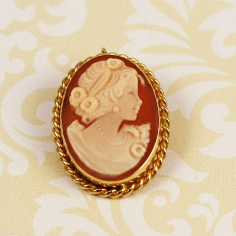Cameo 14K Gold Brooch & Pendant by Carla