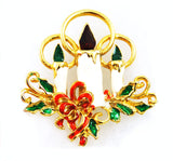 Giovanni holiday candles pin Enamel Brooch Vintage