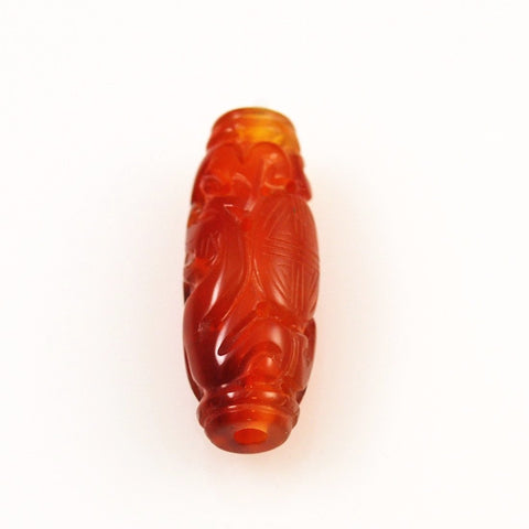 Carnelian Carved Barrel Beads - Vintage