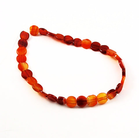 Carnelian Coin Beads Double Drilled 14mm