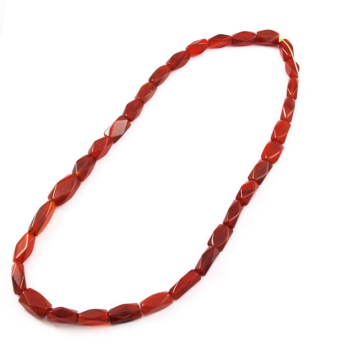 Carnelian Faceted Diamond Rectangle Beads