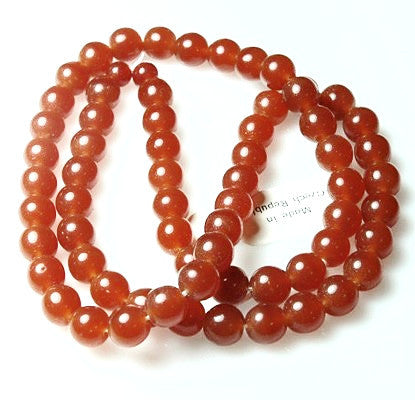 10mm Red Carnelian Glass Round Beads