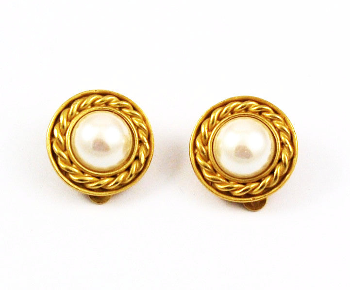 Carolee Pearl and Gold Earrings Clip On