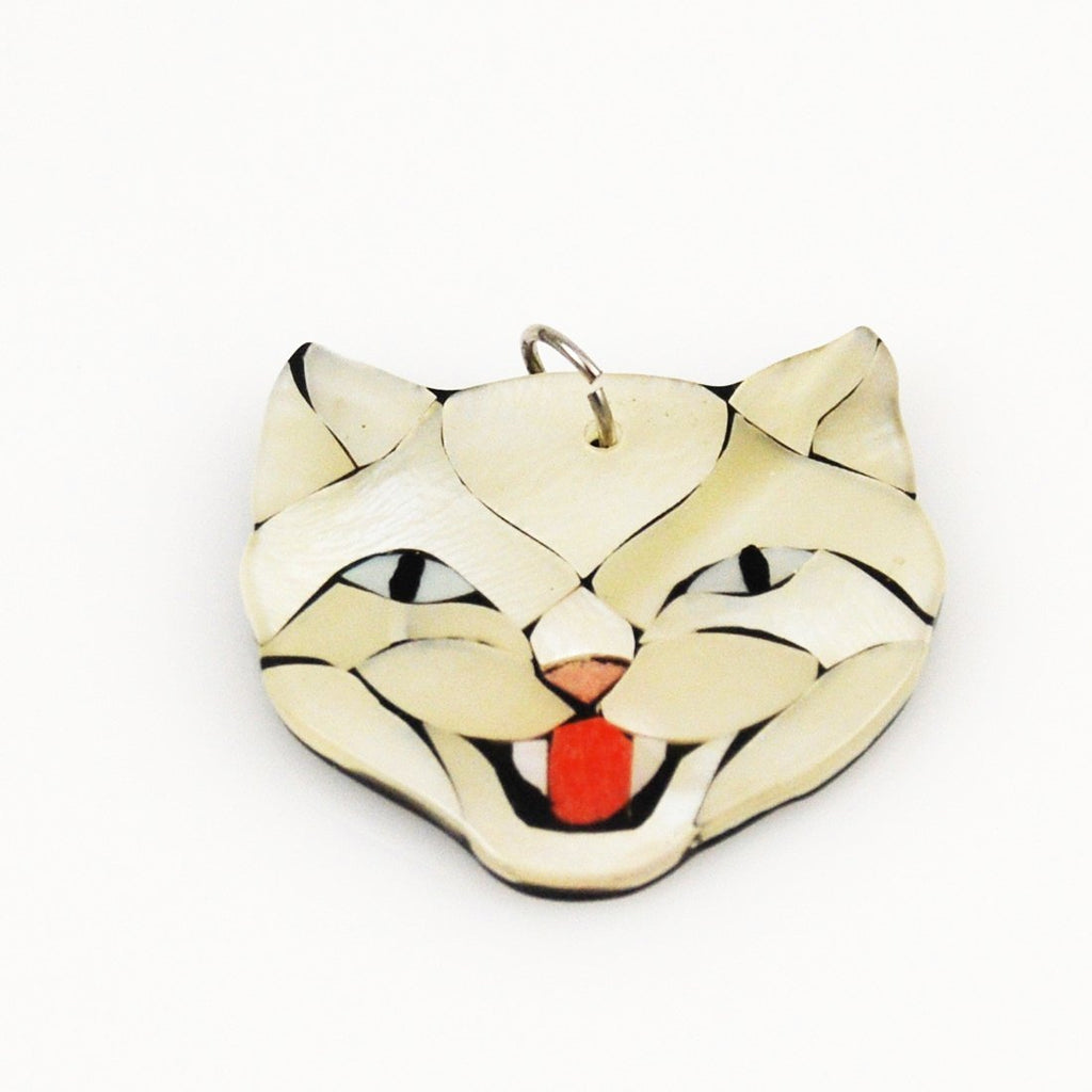 Vintage Inlaid Mother of Pearl Cat Pendant