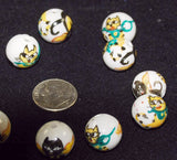 Hand Painted Cat Porcelain Beads 14mm