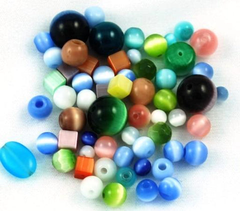 Chinese Cat's Eye Glass Bead Mix - 50 grams Fiber Optic