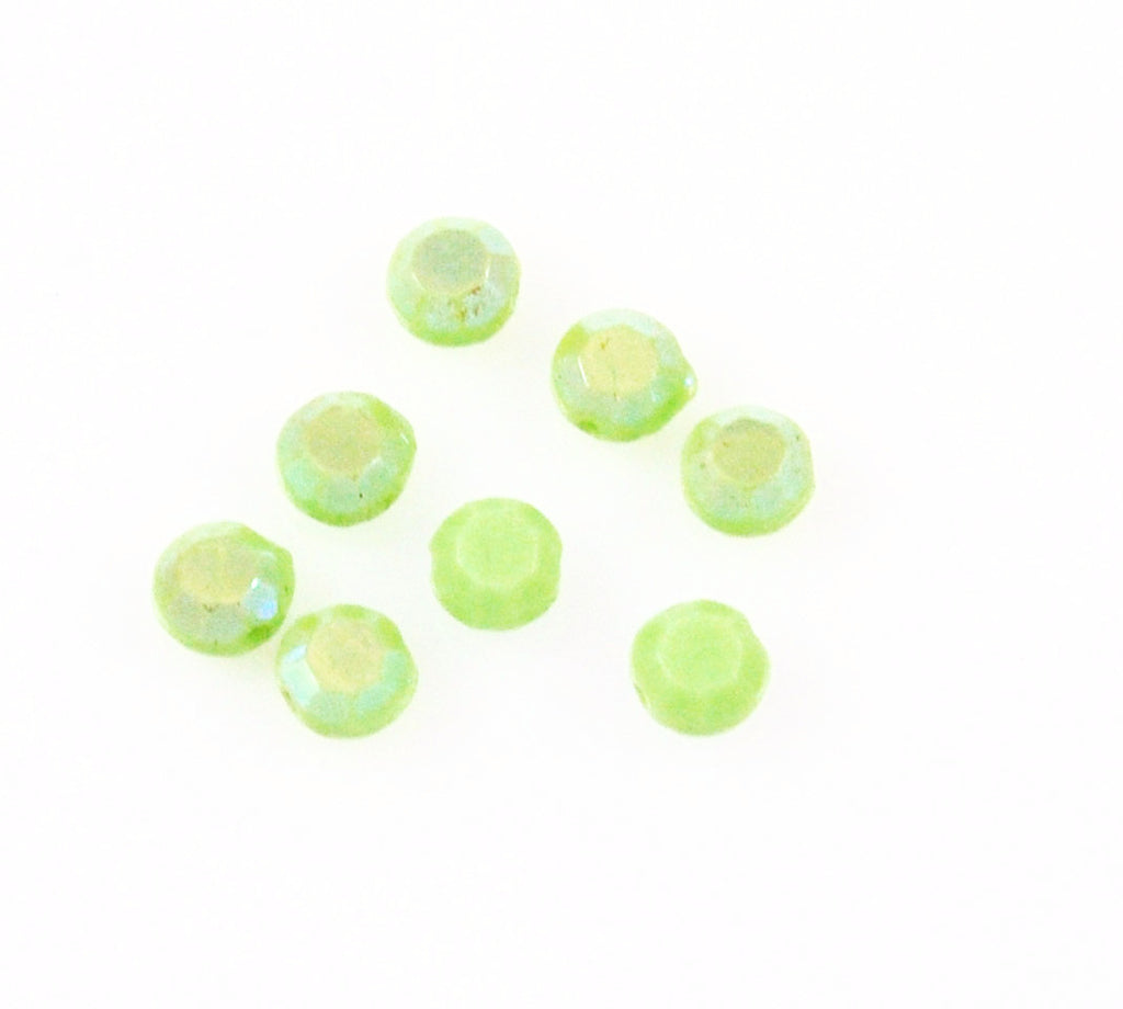 Green celadon 6mm round beads Vintage