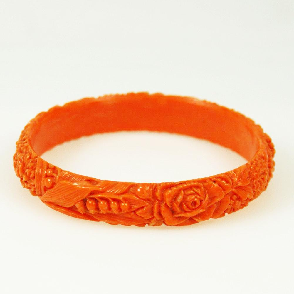Antique Coral Carved Celluloid Bangle Bracelet